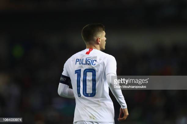 Christian Pulisic of USA in action during the International Friendly match between Italy and the United States of America at Cristal Arena on...