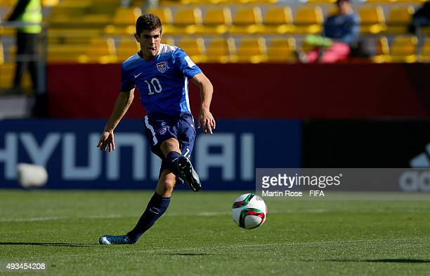 Christian Pulisic of USA scores his opening goal during the FIFA U17 Men's World Cup 2015 group A match between USA and Croatia at Estadio Sausalito...