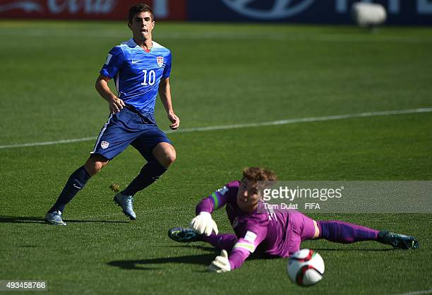 Christian Pulisic of USA scores the opening goal during the FIFA U17 Men's World Cup 2015 group A match between USA and Croatia at Estadio Sausalito...