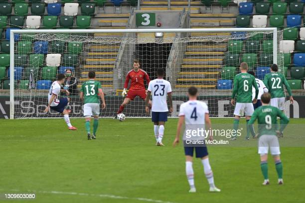 Christian Pulisic of USA scores their side's second goal past Conor Hazard of Northern Ireland during the International Friendly between Northern...