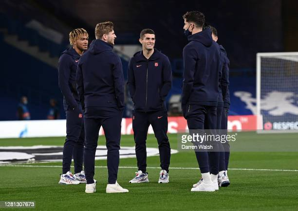 Christian Pulisic Timo Werner Kai Havertz and Reece James of Chelsea talk during a pitch inspection prior to the UEFA Champions League Group E stage...