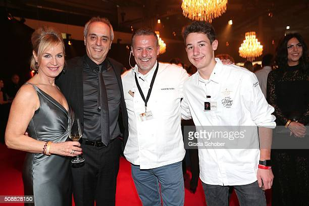 Christian Rach and his wife Andrea Rach star cook Karlheinz Hauser and his son Tom Hauser during the Goldene Kamera 2016 reception on February 6 2016...