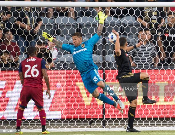 Christian Ramierez of Los Angeles FC heads the ball past Nick Rimando of Real Salt Lake but the goal was disallowed during Los Angeles FC's MLS match...