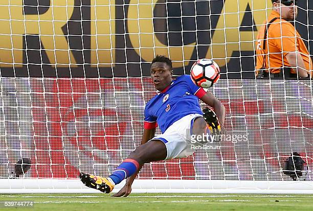 Christian Ramirez of Haiti saves a goal during a group B match between Ecuador and Haiti at MetLife Stadium as part of Copa America Centenario US...