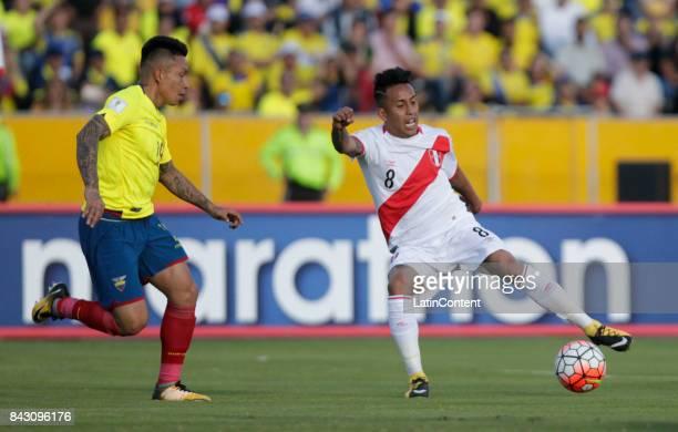 Christian Ramirez of Peru defends against Christian Cueva of Peru during a match between Ecuador and Peru as part of FIFA 2018 World Cup Qualifiers...