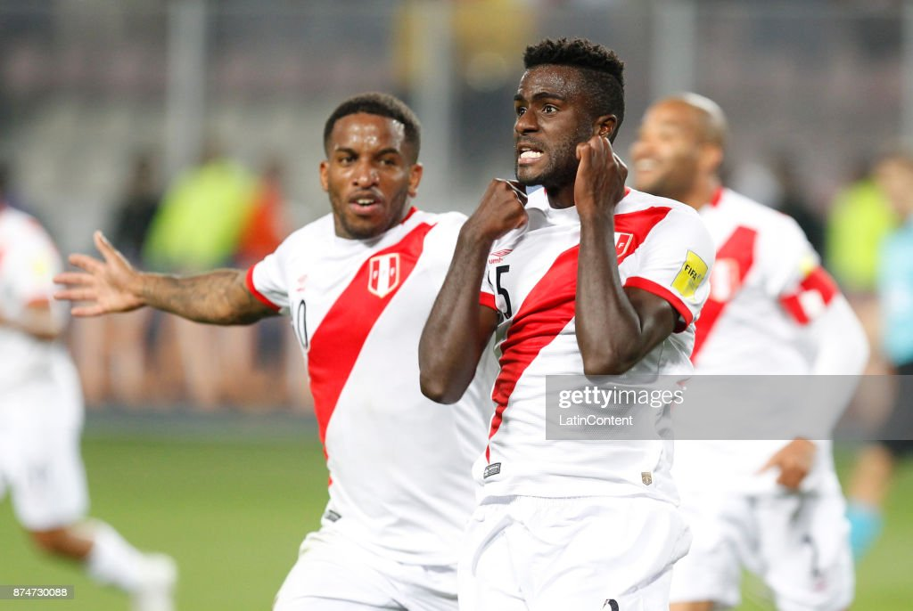 Christian Ramos of Peru celebrates after scoring the second goal of his team during a second leg match between Peru and New Zealand as part of the 2018 FIFA World Cup Qualifier Playoff at Estadio Nacional de Lima on November 15, 2017 in Lima, Peru.