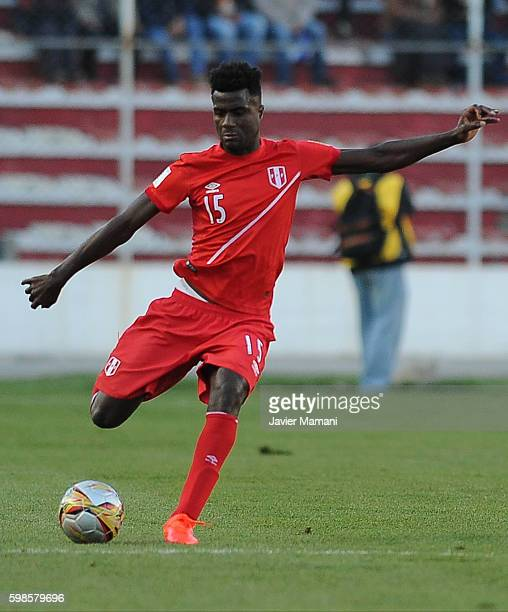 Christian Ramos of Peru kicks the ball during a match between Bolivia and Peru as part of FIFA 2018 World Cup Qualifiers at Olimpico Hernando Siles...