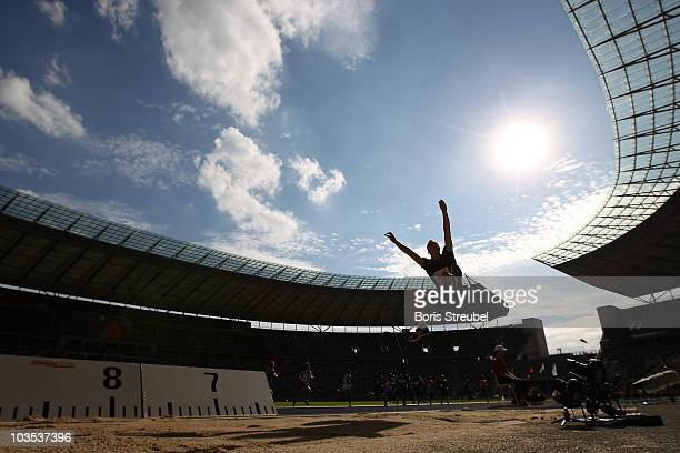 Christian Reif of Germany competes in the men's long jump during the IAAF World Challenge ISTAF 2010 at the Olympic Stadium on August 22, 2010 in...