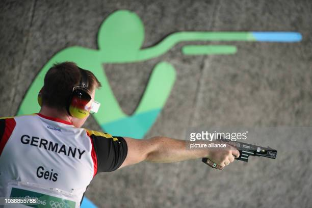 Christian Reitz of Germany during the 25m Rapid Fire Pistol Men's Qual-Stage 2 in the Shooting events during the Rio 2016 Olympic Games at Olympic...