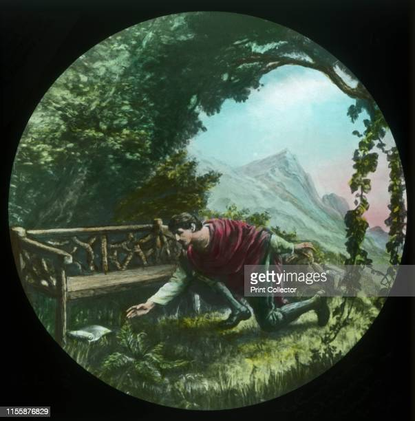 """Christian returns and finds the scroll', circa 1910. Scene from """"The Pilgrim's Progress"""", by John Bunyan. Glass lantern slide produced by the Church..."""