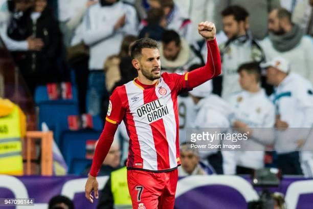 Christian Ricardo Stuani Curbelo of Girona FC celebrates after scoring his goal during the La Liga 201718 match between Real Madrid and Girona FC at...
