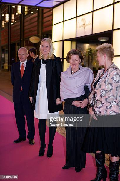 Christian Ringnes Crown Princess MetteMarit of Norway Queen Sonja of Norway and Anne Lise Ryel attend a charity gala on October 29 2009 in Oslo Norway