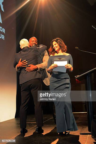 Christian Rivera Foundation boardmember Andy Epstein actor Malik Yoba and WNBC News anchor Darlene Rodriguez appear onstage at the 8th Annual...