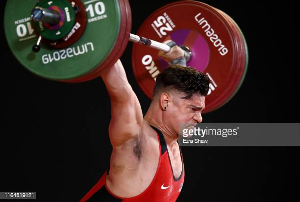 Christian Rodriguez Ocasio of the United States competes in the men's weightlifting 81kg competition on Day 2 of the Lima 2019 Pan American Games at...