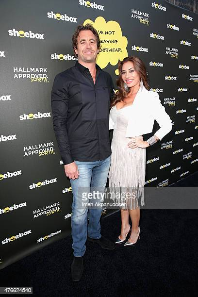 Christian Rovsek and tv personality Lizzie Rovsek attend Shoebox's 29th Birthday Celebration hosted by Rob Riggle at The Improv on June 10 2015 in...