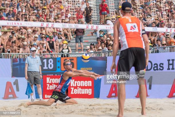 Christian Sandlie Sorum of Norway digs the ball during the semifinal match between Anders Berntsen Mol and Christian Sandlie Sorum of Norway and...