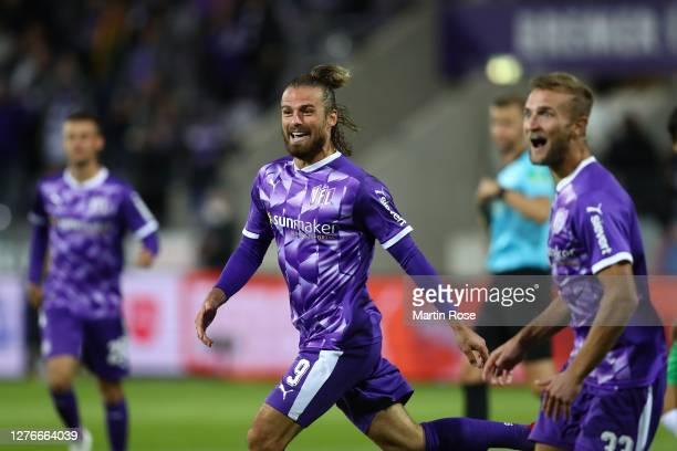 Christian Santos of Osnabrück celebrates scoring the 2nd team goal during the Second Bundesliga match between VfL Osnabrück and Hannover 96 at...