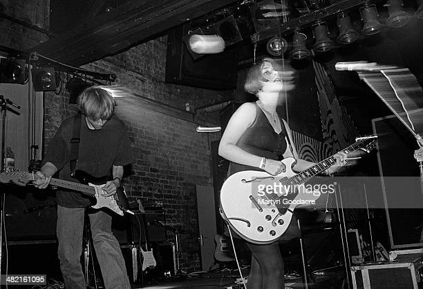 Christian Savill and Rachel Goswell of Slowdive perform on stage United Kingdom 1991