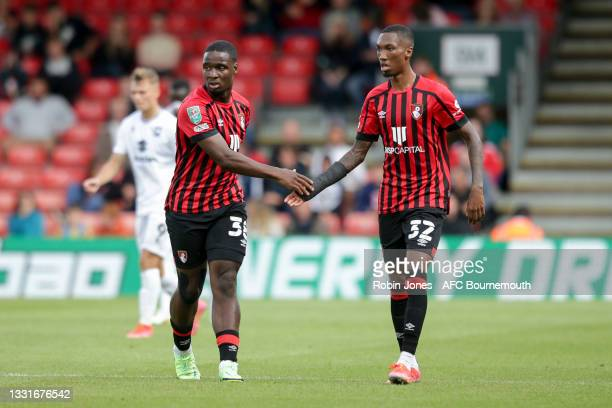 Christian Saydee and Jaidon Anthony of Bournemouth during the Carabao Cup 1st Round match between AFC Bournemouth and MK Dons at Vitality Stadium on...