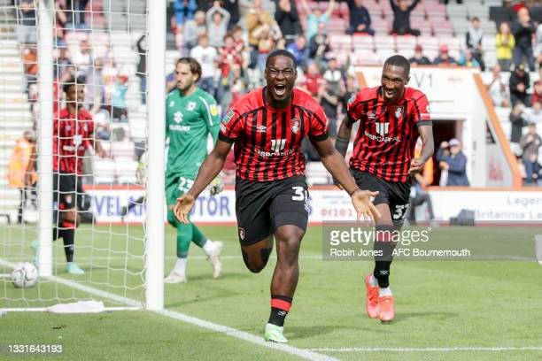 Christian Saydee of Bournemouth celebrates after he scores a goal to make it 4-0 during the Carabao Cup 1st Round match between AFC Bournemouth and...