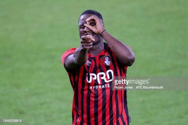 Christian Saydee of Bournemouth celebrates after he scores a goal to make it 1-1 during the Premier League Cup match between AFC Bournemouth U23 and...