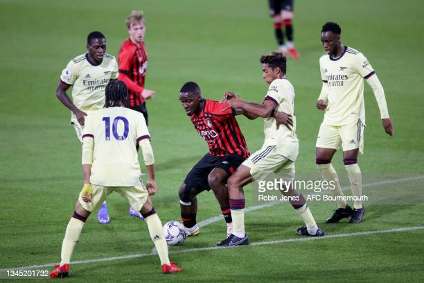 Christian Saydee of Bournemouth is crowded out during the Premier League Cup match between AFC Bournemouth U23 and Arsenal U23 at Vitality Stadium at...