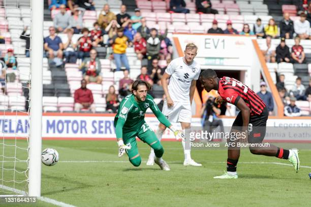 Christian Saydee of Bournemouth scores a goal to make it 4-0 during the Carabao Cup 1st Round match between AFC Bournemouth and MK Dons at Vitality...