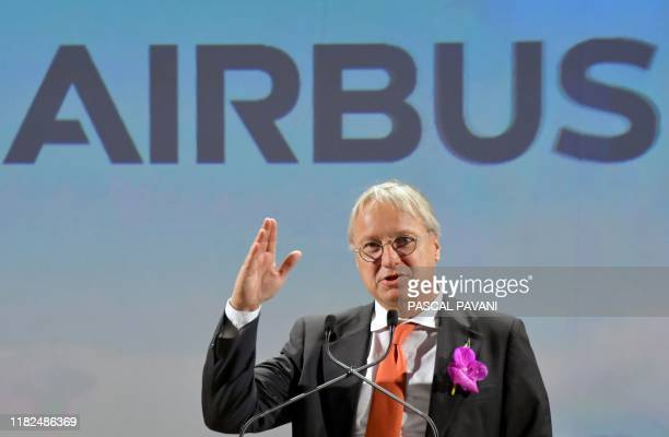Christian Scherer Airbus Chief Commercial Officer speaks during the ceremony for the delivery of the company's first Airbus A350 XWB 900 on November...