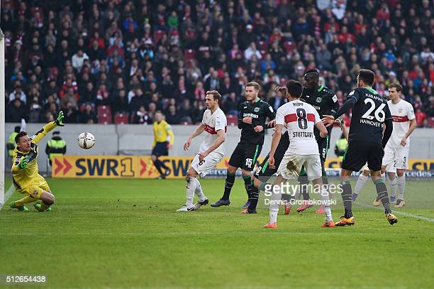 Christian Schulz of Hannover 96 scores their second goal during the Bundesliga match between VfB Stuttgart and Hannover 96 at MercedesBenz Arena on...