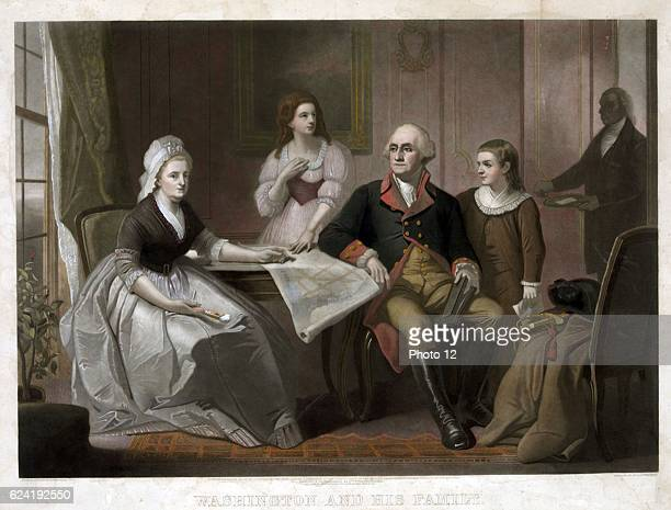 Christian Schussele Washington and his family George and Martha Washington seated at table Nelly Custis and George Washington Custis standing servant...
