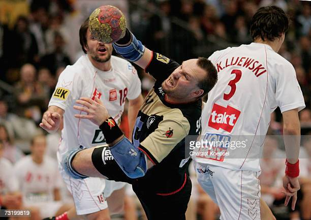 Christian Schwarzer of Germany in action during the IHF World Championship final between Germany and Poland at the Cologne Arena on February 4, 2007...