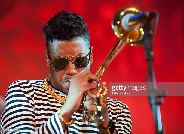 Christian Scott performs live on stage at Cheltenham Jazz Festival on May 1 2016 in Cheltenham England