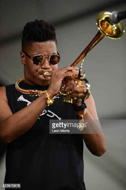 Christian Scott performs on stage at the New Orleans Jazz and Heritage Festival on April 22 2016 in New Orleans Louisiana
