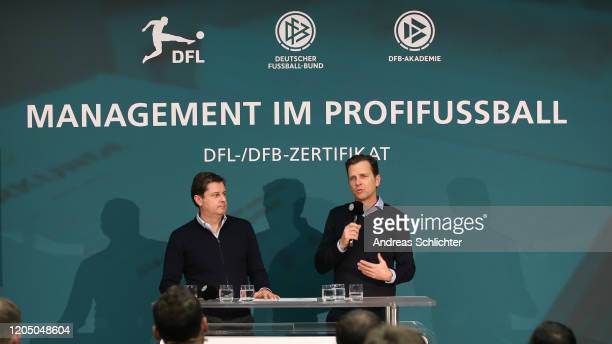Christian Seifert and Oliver Bierhoff team manager of Germany speak at a press conference as DFB And DFL present a DFB Academy Football Management...
