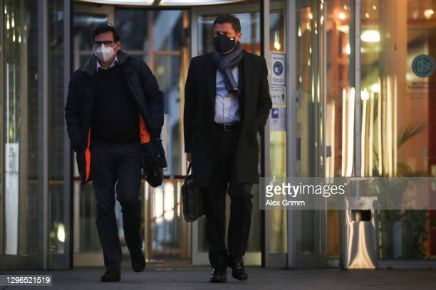 Christian Seifert and Oliver Leki leave the DFB Headquarter on January 15, 2021 in Frankfurt am Main, Germany. A couple of different media outlets...