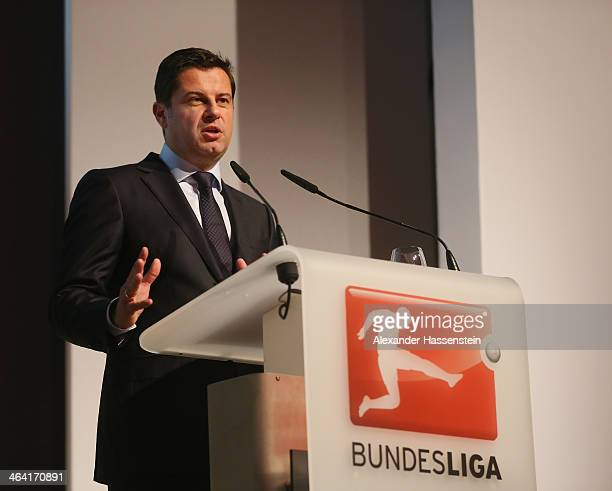 Christian Seifert CEO of Deutsche Fuflball Bundesliga DFL holds a speach during the DFL New Year's Reception at Thurn und Taxis Palais on January 21...