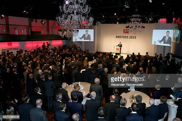 Christian Seifert CEO of Deutsche Fussball Liga DFL speaks during the the DFL New Year`s Reception 'Anstoss 2015' at Thurn und Taxis Palais on...