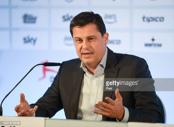 Christian Seifert, CEO of the German Football League , speaks during a press conference following the general assembly of the DFL on March 16, 2020...
