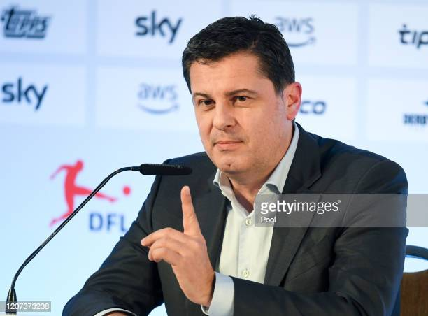 Christian Seifert CEO of the German Football League speaks during a press conference following the general assembly of the DFL on March 16 2020 in...