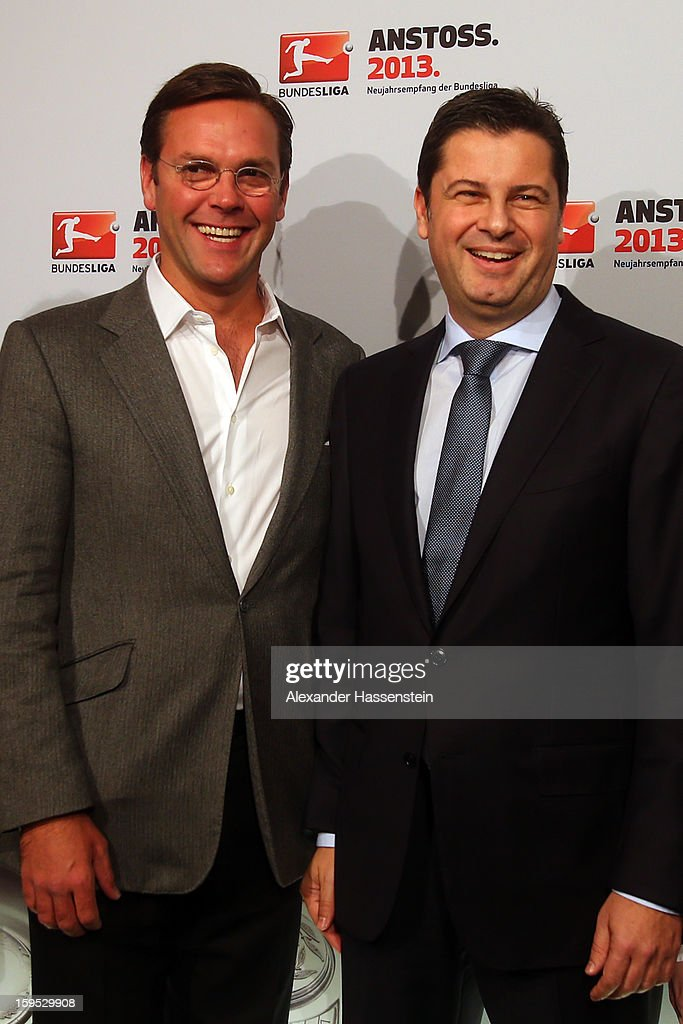 Christian Seifert (R), chairman of business for the DFL talks to James Murdoch, CEO News Corporation Europe and Asia, during the DFL new year's reception at the Thurn und Taxis Palais on January 15, 2013 in Frankfurt am Main, Germany.