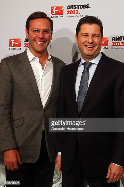 Christian Seifert , chairman of business for the DFL talks to James Murdoch, CEO News Corporation Europe and Asia, during the DFL new year's...
