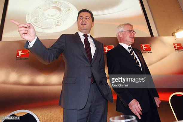 Christian Seifert , general manager of the German Football League , and DFL president Reinhard Rauball, pose after a press conference after the...