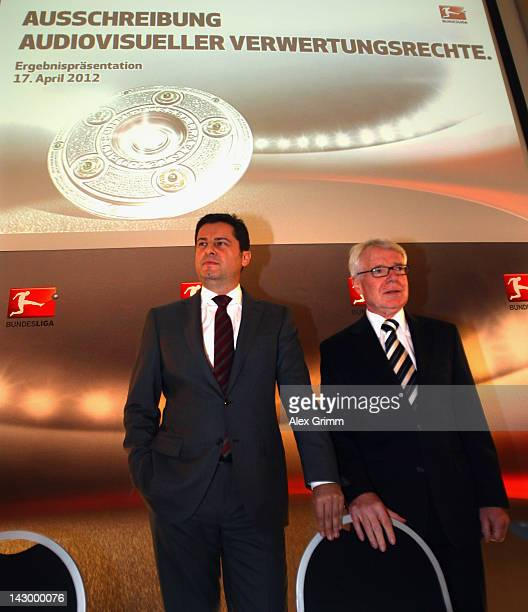 Christian Seifert , general manager of the German Football League , and DFL president Reinhard Rauball, pose prior to a press conference after the...