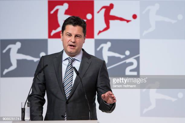 Christian Seifert holds a speech during the 2018 DFL New Year Reception at Thurn Taxis Palais on January 16 2018 in Frankfurt am Main Germany