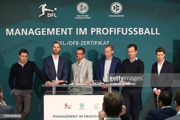 Christian Seifert, Tobias Haupt, Fredi Bobic, Ansgar Schwenken, Oliver Bierhoff and Ronny Zimmermann speak during a press conference after DFB and...