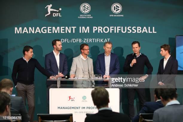 Christian Seifert , Tobias Haupt, Fredi Bobic, Ansgar Schwenken, Oliver Bierhoff , Ronny Zimmermann speaks on a press conference after DFB and DFL...
