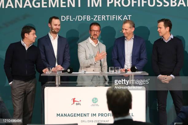 Christian Seifert , Tobias Haupt, Fredi Bobic, Ansgar Schwenken, Oliver Bierhoff speaks on a press conference after DFB and DFL certificate...