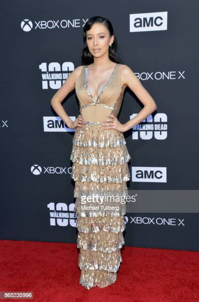 Christian Serratos attends AMC's celebration of the 100th episode of 'The Walking Dead' at The Greek Theatre on October 22 2017 in Los Angeles...