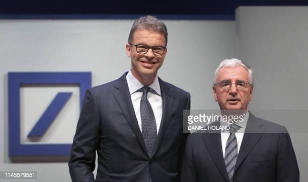 Christian Sewing CEO of German bank Deutsche Bank and Deutsche Bank's supervisory board chairman Paul Achleitner pose during the company's annual...