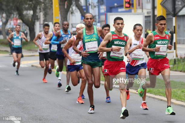 Christian Sime Pacheco Mendoza of Peru competes in the men's marathon final at Parque Kennedy on July 27, 2019 in Lima, Peru.